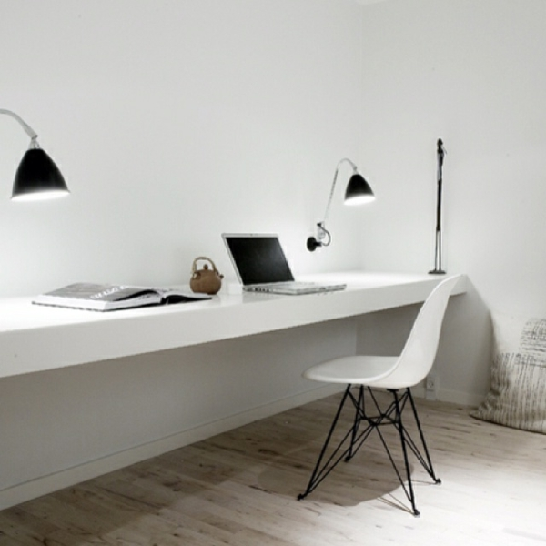 Designs uniques de bureau suspendu for Bureau gris et blanc