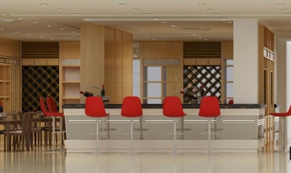 chaise-de-bar-rouge-chaises-rouges-et-un-comptoir-noir