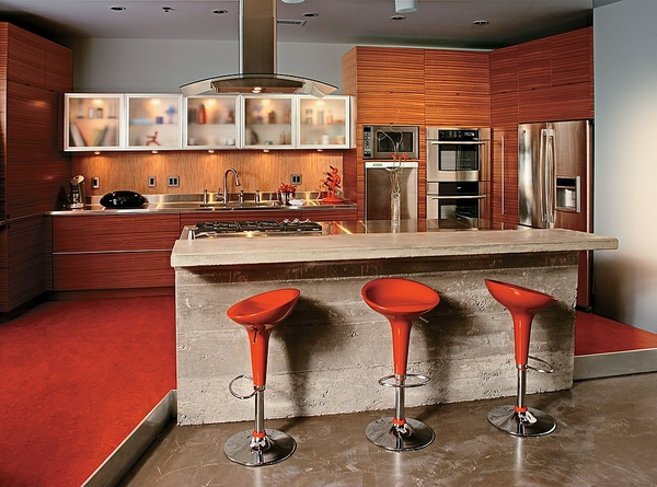 La chaise de bar rouge mod les chic et attirants - Bar de cuisine design ...