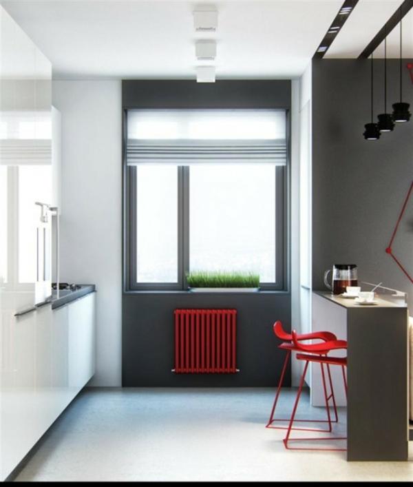 chaise-de-bar-rouge-cuisine-moderne