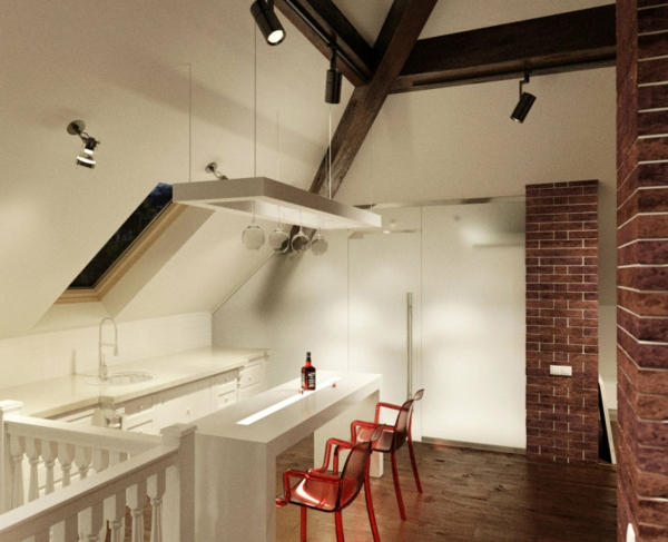 chaise-de-bar-rouge-intérieur-contemporain