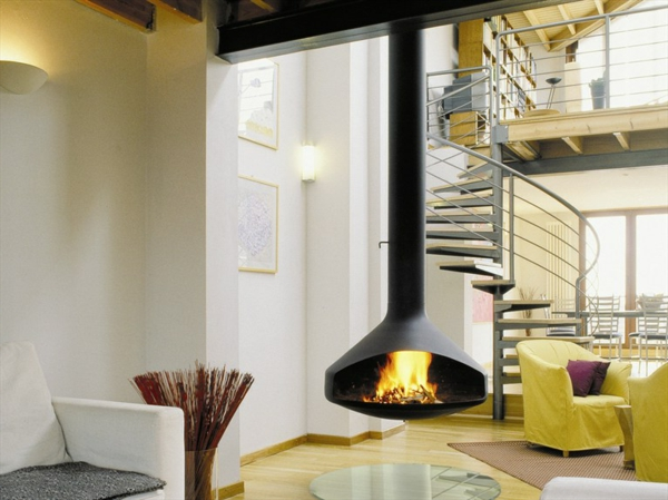 cheminée-suspendue-escalier-tournant-sofas-jaunes