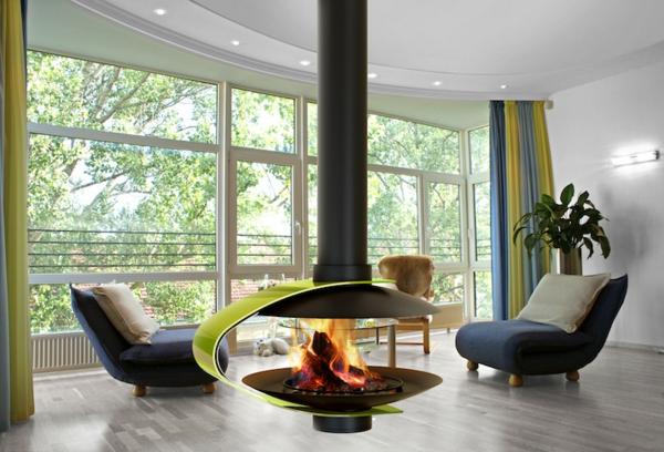 la chemin e suspendue le design spectaculaire du chauffage. Black Bedroom Furniture Sets. Home Design Ideas