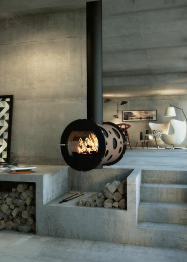 cheminée-suspendue-et-intérieur-loft