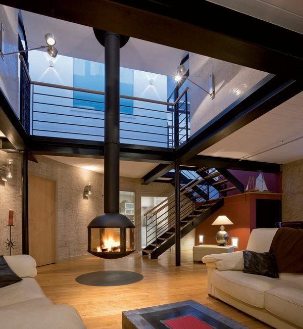 cheminée-suspendue-intérieur-moderne-cosy