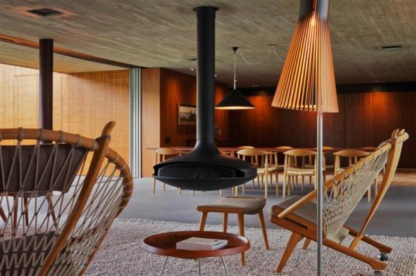 cheminée-suspendue-mobilier-vintage-scandinave