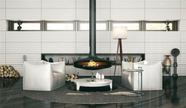 cheminée-suspendue-mur-blanc-surface-à-rayures