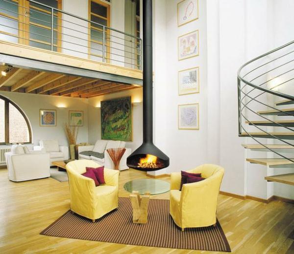 cheminée-suspendue-sofas-jaunes