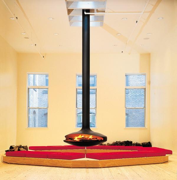 cheminée-suspendue-sofas-rouges