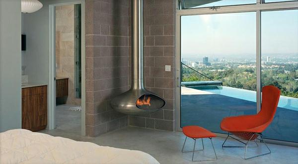 cheminée-suspendue-une-maison-moderne