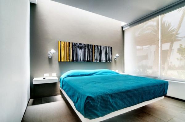 chevet-suspendu-blanc-et-décoration-murale-fantastique