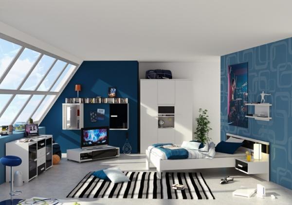 chevet-suspendu-blanc-et-murs-bleus-intérieur-joli