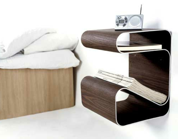 Le chevet suspendu et le chevet flottant designs - Table de chevet design ...