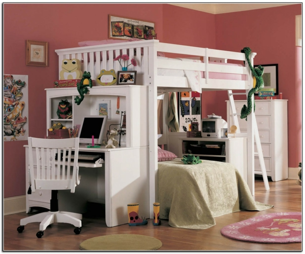 cool-design-de-chambre-à-coucher-et-lit-mezzanine-et-bureau--de-fille