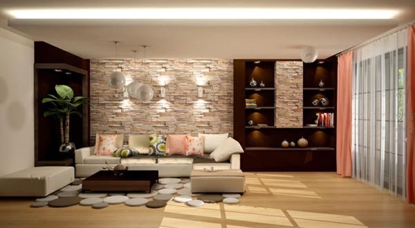 La salle de s jour en beige for Sejour design