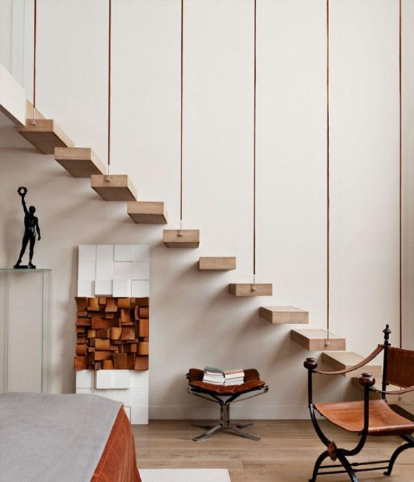 escalier-flottant-design-en-bois-et-déco-magnifique