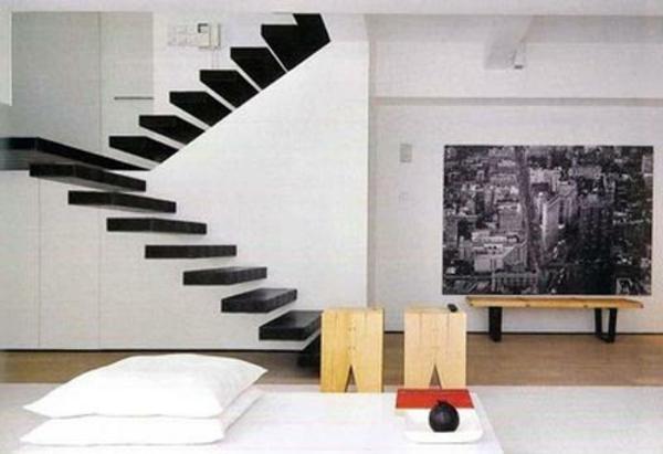 escalier-flottant-poster-mural-en-noir-et-blanc