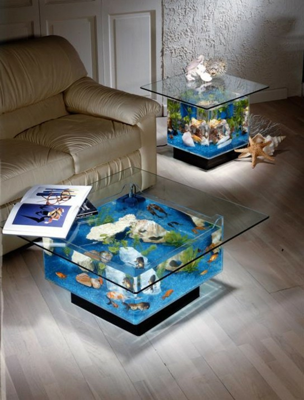 Table basse aquarium poisson dor for Meuble poisson