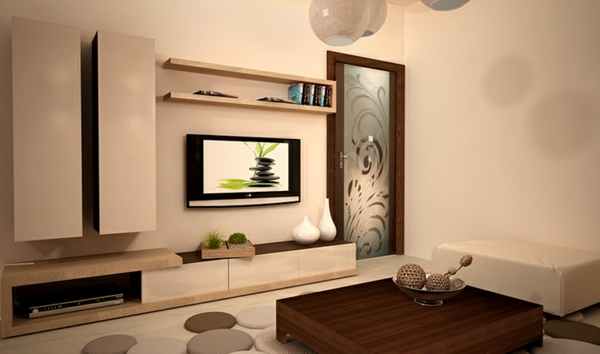 la salle de s jour en beige. Black Bedroom Furniture Sets. Home Design Ideas