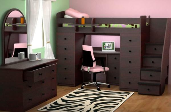 lit-mezzanine-et-bureau--nois-noir-foncé-et-décoration-en-rose