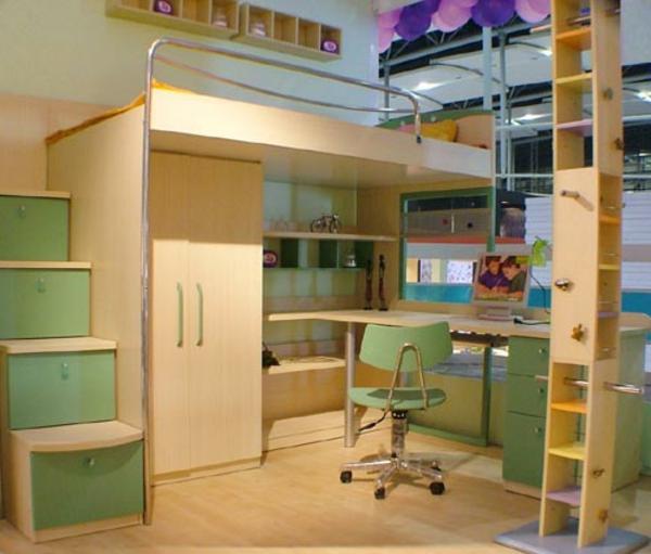 lit-mezzanine-et-bureau-pour-la-chambre-à-coucher-d'enfant