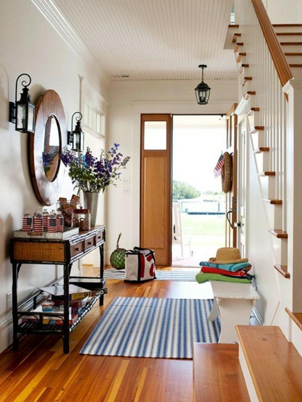 meuble-console-d entrée-avec-tiroirs-et-un-miroir-rond