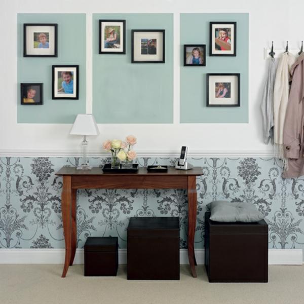 meuble-console-d' entrée-consoleètraditionnelle-en-bois-et-tabourets-noirs