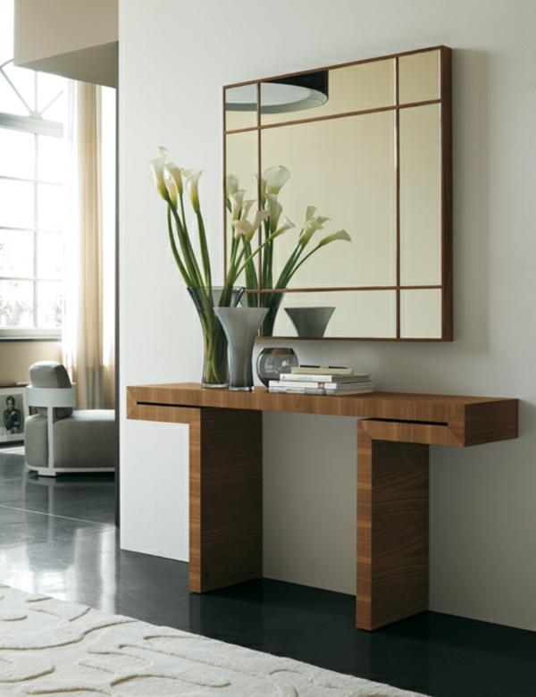 meuble-console-d' entrée-en-bois-et-miroir-élégant