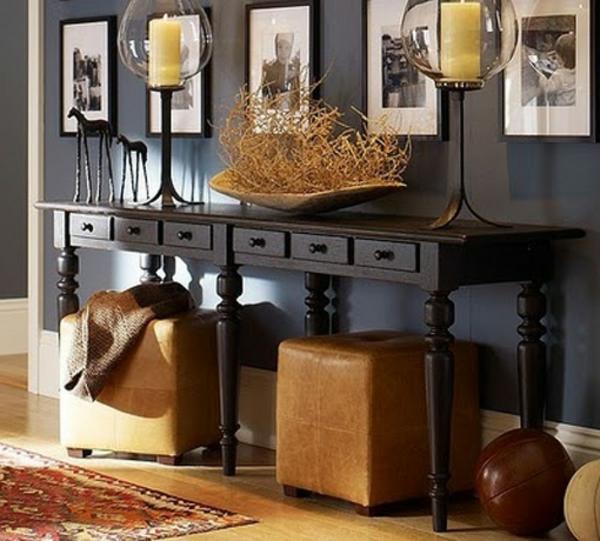 meuble-console-d' entrée-console-noire-et-tabourets-marrons