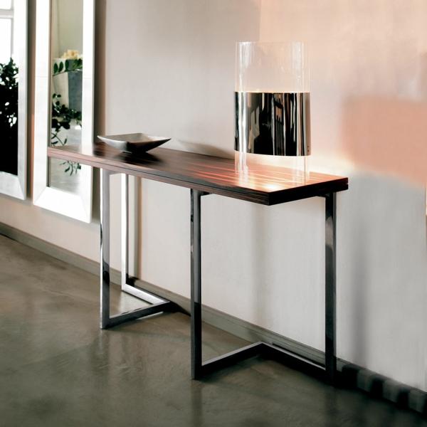 meuble-console-d' entrée-design-contemporain-en-bois-et-acier