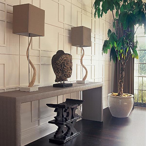 meuble-console-d' entrée-et-deux-lampes-originales