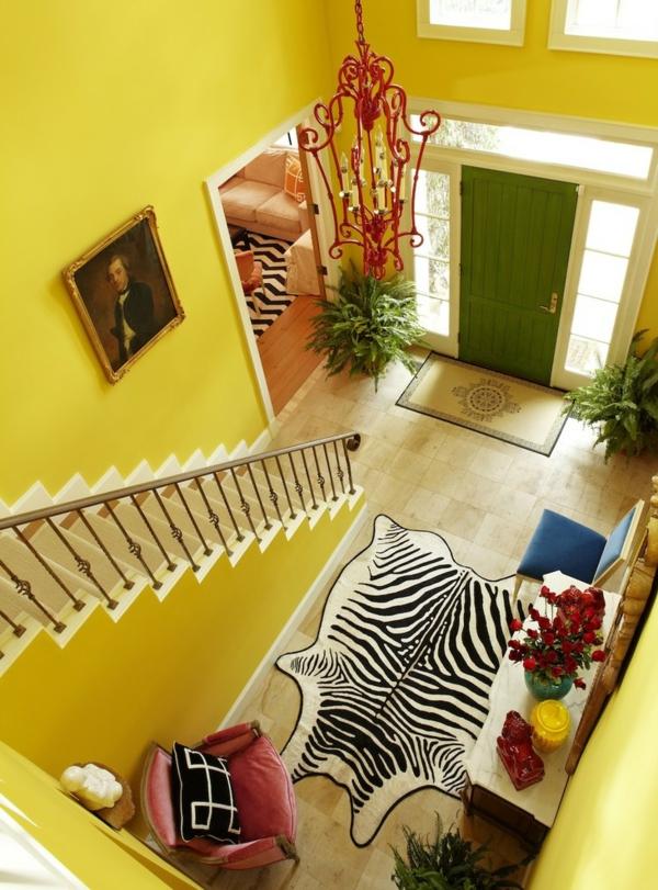 meuble-console-d entrée-hall-d'entrée-jaune