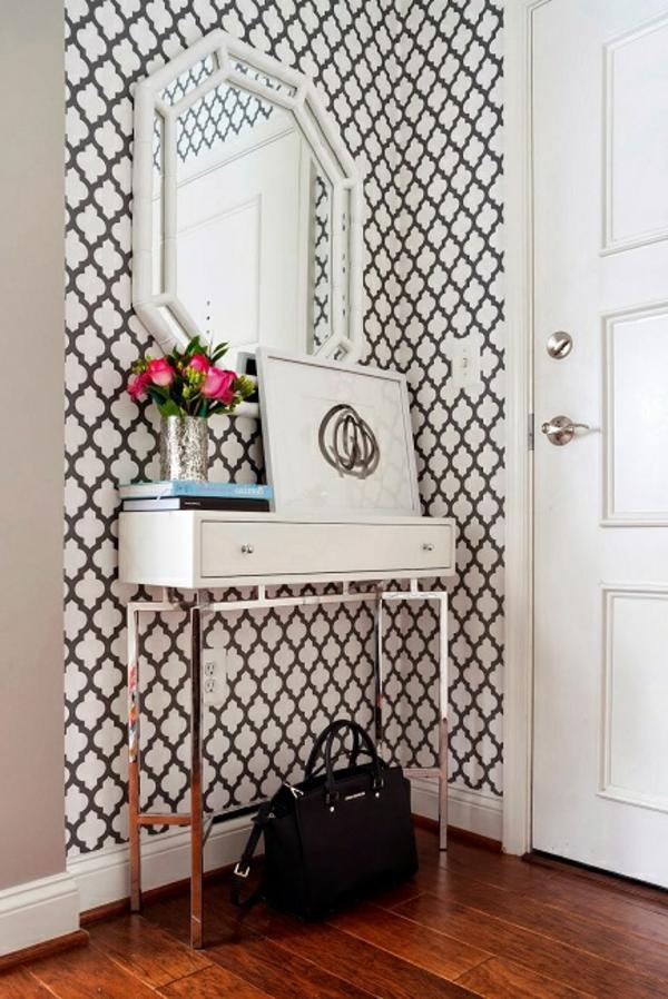 meuble-console-d' entrée-papier-peint-baroque