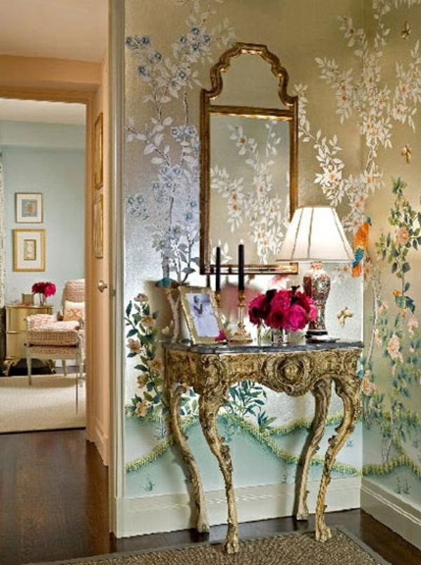 meuble-console-d' entrée-table-console-française-papier-peint-à-motifs-floraux