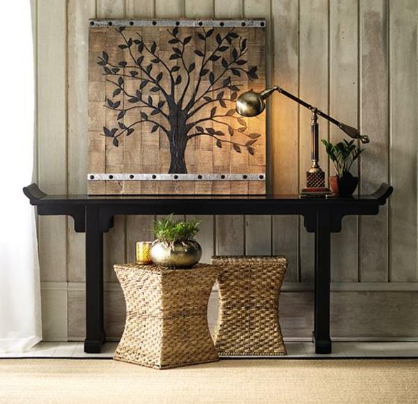 meuble-console-d entrée-un-panneau-mural-décoratif