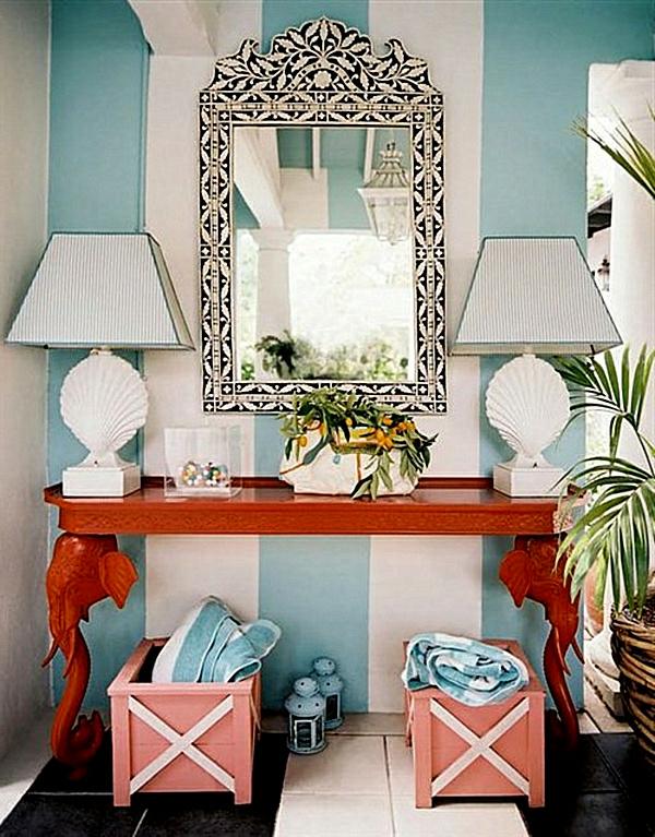 meuble-console-d' entrée-une-console-rouge-et-un-miroir-magnifique