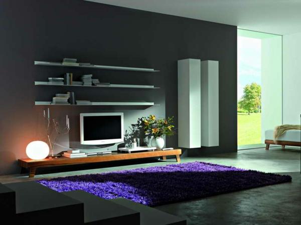 meuble-suspendu-de-salon-étagères-et-armoires-blanches