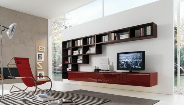 meuble-suspendu-de-salon-casiers-muraux-et-meuble-de-tv-rouge-laqué