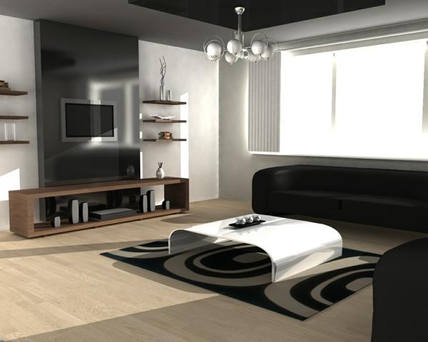 meuble-suspendu-de-salon-et-une-table-blanche-originale