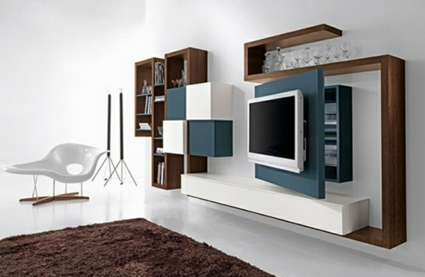 Meuble de tv suspendu maison design for Meuble mural salon tv roche bobois