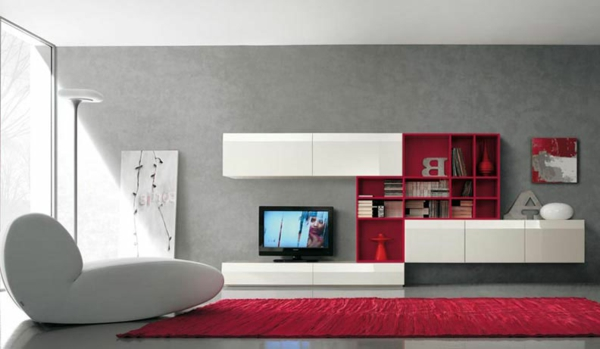 meuble-suspendu-de-salon-mobilier-en-rouge-et-blanc