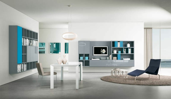 decoration salon bleu turquoise et gris avec des id es int ressantes pour la. Black Bedroom Furniture Sets. Home Design Ideas