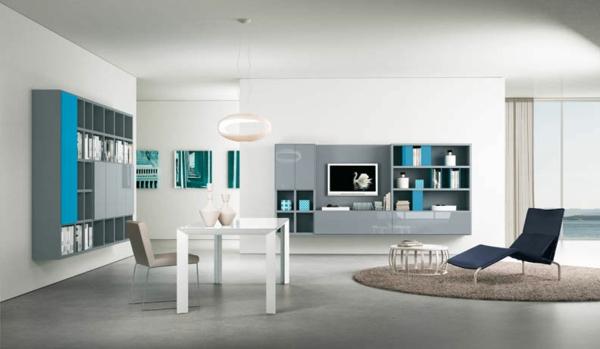 Le meuble suspendu de salon d core et modernise le salon - Salon blanc et turquoise ...
