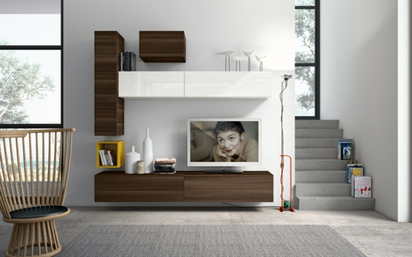 meuble-suspendu-de-salon-rangement-en-bois-foncé