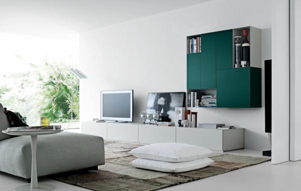meuble-suspendu-de-salon-bahuts-vert-suspendus