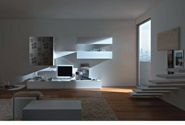 meuble-suspendu-de-salon-salle-de-séjour-moderne-et-un-escalier-flottant