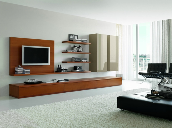 Le meuble suspendu de salon décore et modernise le salon - Archzine.fr