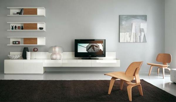 meuble-suspendu-de-salon-unités-blanches-murales