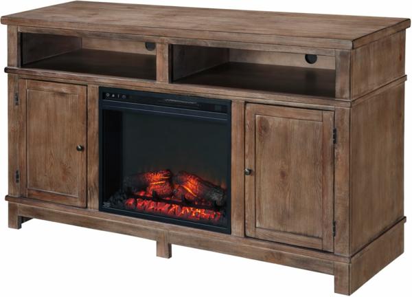 meuble-tv-vintage-buffet-en-bois-et-cheminée