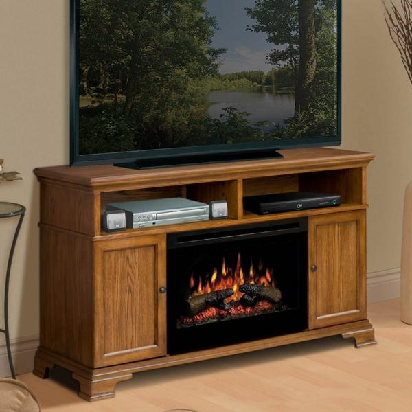 meuble-tv-vintage-cheminée-éléctrique